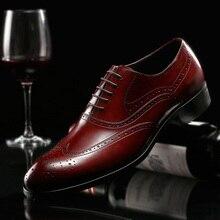 2018 новые весенние Для Мужчин's Модельные туфли из натуральной кожи в британском стиле Модные ручной первый Слои из коровьей кожи bullock Для мужчин S широкий Обувь
