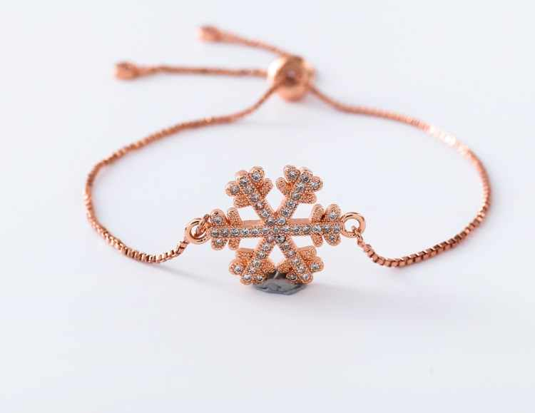 Rantai Perak Emas Micro Pave CZ Zircon Cubic Zirconia Gelang Tali Disesuaikan Macrame Sg5r3 Gelang Kepingan Salju Fashion Perhiasan Hadiah
