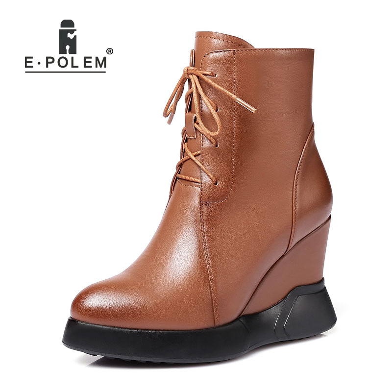 New Female Casual Round Toe Wedges Heel Short Boots Cross-tied Genuine Leather Martin Boots Lace-Up Platform Ankle Boots