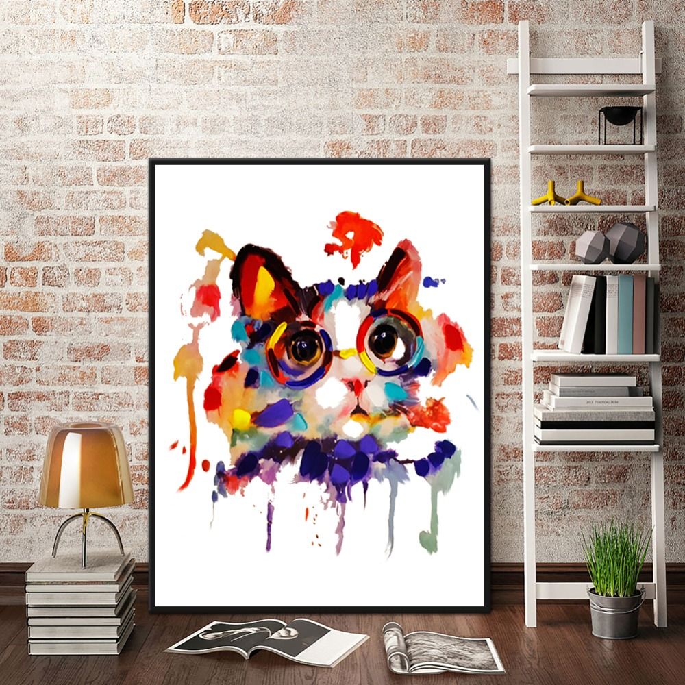 WARMSUN Cute Watercolor Cat Canvas Painting Animal Wall Art Print Picture For Living Room Children Home Decoration Unframed