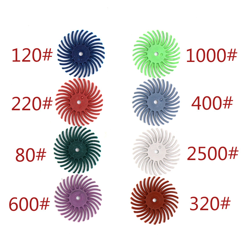 10pcs Radial Bristle Abrasive Brush 80-2000 Grit Rubber Polishing Buffing Wheel With Mandrel For Rotary Tools Dremel Accessories