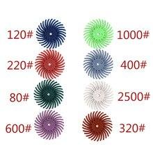 10pcs Radial Bristle Abrasive Brush 80-2000 Grit Rubber Poli