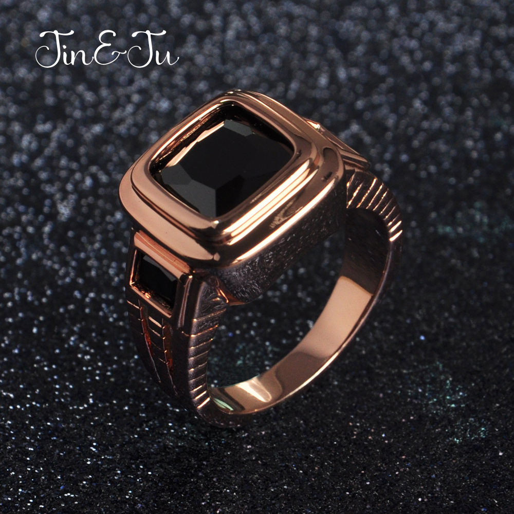 Jin&Ju Hot sale Men's Figment Ring for Mens Jewelry with Jet stone in Rose Gold tone Men Wedding Bands for Male Jewelry Anel(China)