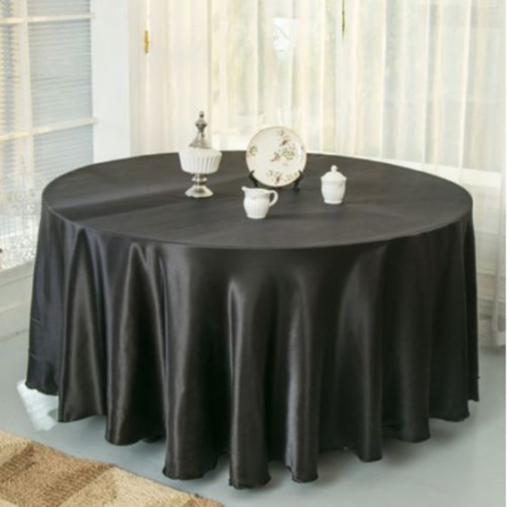 10pcs Pack Black White 120 Inch Round Satin Tablecloths