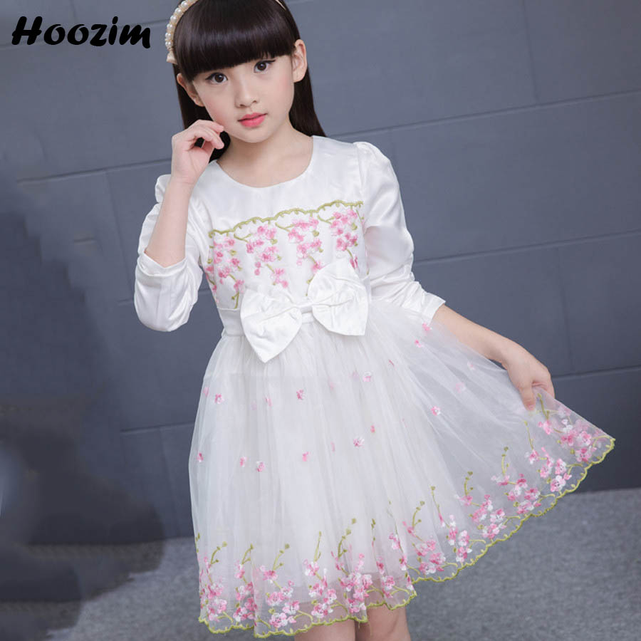 Spring Embroidery Floral Elegant Party Dresses For Girls Beautiful Children Dresses Cute White Kids Girls Dress Long Sleeve New 2 7y princess children girls white lace dress brand new long sleeve toddler kids elegant party dresses one pieces clothing