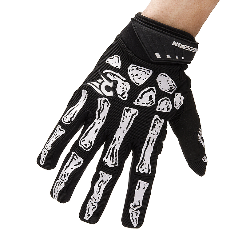 ROBESBON Black Skeleton Style Windproof Outdoor Sports Skiing Touch Screen Glove Cycling Bicycle Gloves Soft Warm Gloves RSB013