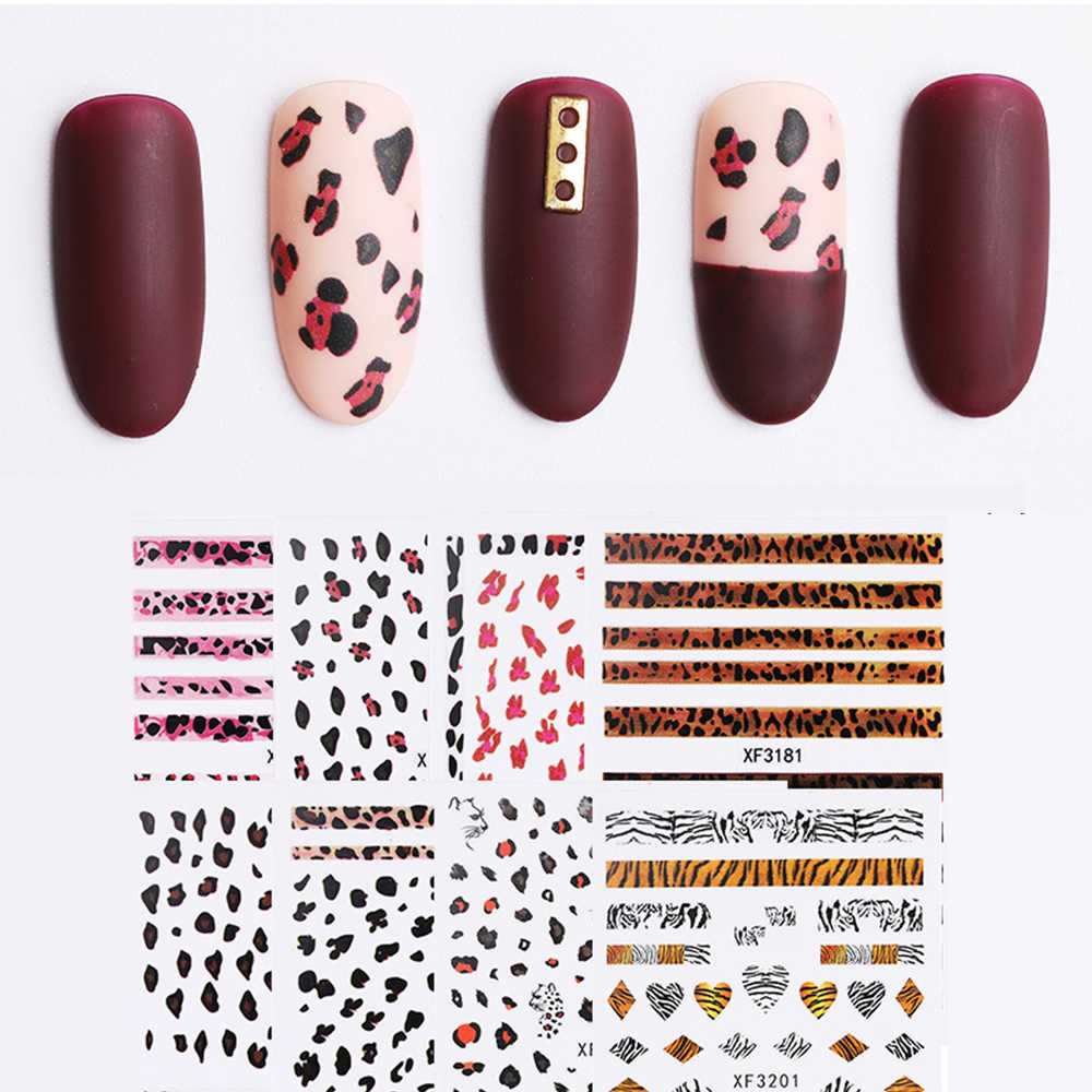 Wholesale Leopard Nail Sticker 3D Self-adhesive DIY Sticker Decals Matte Scrub Manicure Decals Nail Foil Nail Art Decorations
