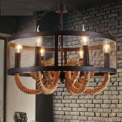 Loft Style Wire Mesh Droplight LED Iron Rope Vintage Pendant Light ...