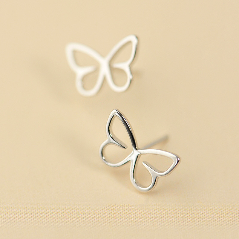 Hot Sale Real sterling-silver-jewelry 925 Sterling Silver Hollow Butterfly Earrings for Women Lady Love Fashion Jewelry