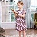 Meninas Vestido Vestido de Princesa Traje para As Crianças Vestidos de Festa Marca 2017 Estilo Lolita Roupas Meninas Crianças Se Vestem com Floral Impresso