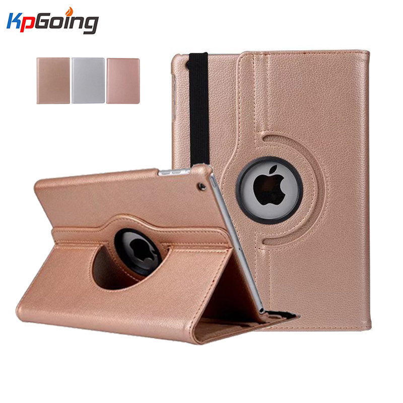 купить Rotating Litchi Leather Case Cover for Apple Ipad Air 1 Ultrathin Case for Ipad Air 5 Slim Leather PU Case Rose Golden Silver недорого