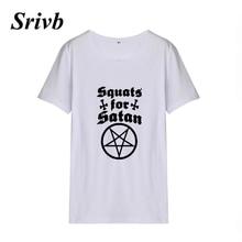4838d5e688b Srivb Squats for Satan Tumblr Summer Print Cotton Women T-shirt Harajuku Black  White Short
