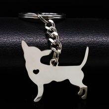 2021 Chihuahua Hund Keychain Pokemon Schmuck Silber Farbe Edelstahl Keychain für Frauen Hund Schmuck llaveros mujer K922S01
