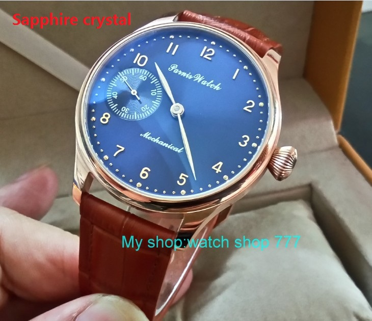 Sapphire crystal 44mm PARNIS blue dial 17 jewels Asian 6497/3600 Mechanical Hand Wind movement men's watch Rose gold case 394A sapphire crystal 2017 new fashion 44mm parnis asian 6497 3600 mechanical hand wind movement men s watch 6a
