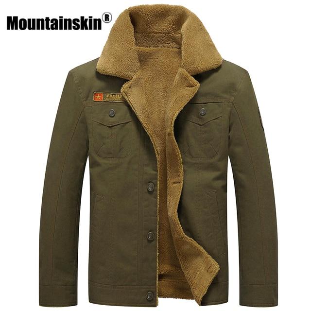 Mountainskin ฤดูหนาวเสื้อแจ็คเก็ตหนาขนแกะชายเสื้อลำลองขนสัตว์ Collar บุรุษทหารยุทธวิธี Parka Outerwear SA351