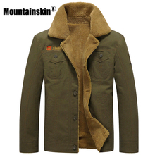 Mountainskin Winter Warm Jackets Thick Fleece Mens Coats Casual Cotton Fur Collar Mens Military Tactical Parka Outerwear SA351