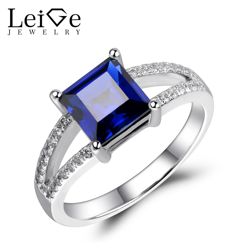 Leige Jewelry Lab Sapphire Ring Blue Gemstone Engagement Promise Rings for Women Silver 925 Fine Jewelry Square Cut Double Band