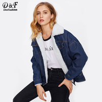Dotfashion Denim Contrast Faux Shearling Jacket 2017 Single Breasted Pocket Tops Autumn Women Navy Lapel Short