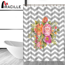 Miracille Modern Flowers Printed Waterproof Fabric Home Decor Shower Curtain Bathroom Product Curtains with 12 pcs Hooks