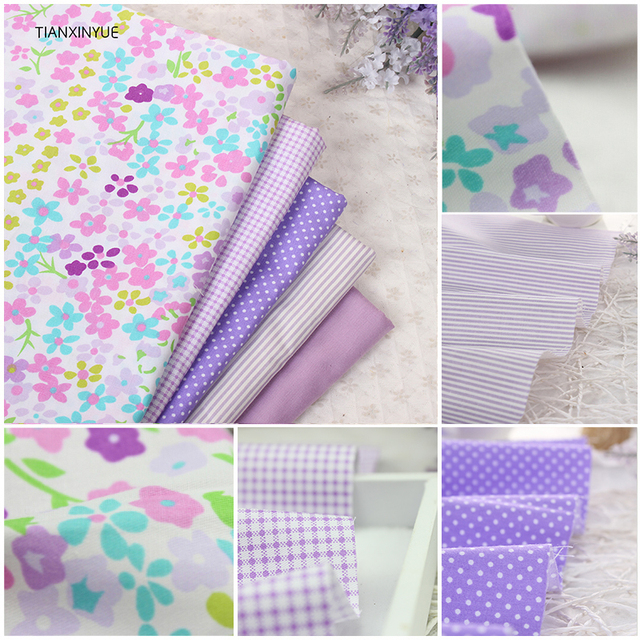 TIANXINYUE 5pcs 40cm*50cm Purple Lavender fabric Cotton Fabric For Sewing patchwork fabric Textile Tilda Doll Body Cloth
