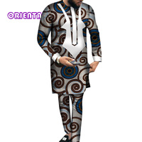 Fashion Men Clothes Long Sleeve Shirt Gown and Pants Set Traditional African Bazin Riche Print Tops Gown and Trousers WYN540