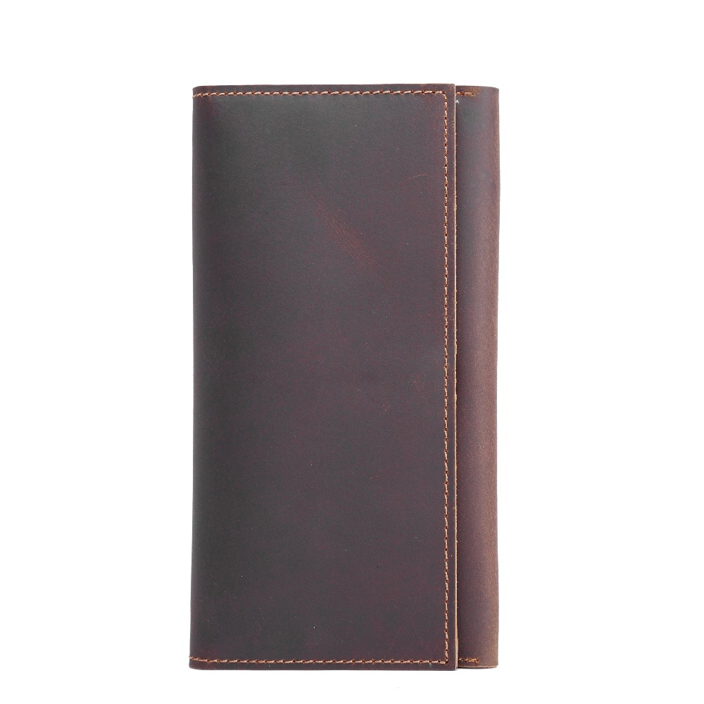 Men's Vintage Style Genuine Cowhide Leather Long Wallet Coin Credit ID Card Purse Holder Hasp Pouch Wallet For Male Man 358 casual weaving design card holder handbag hasp wallet for women