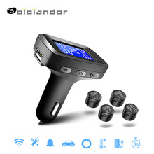 Car Tire Pressure Monitoring System Cigarette Lighter Plug TPMS LCD Display Waterproof 4 External Internal Sensors USB Charging стоимость