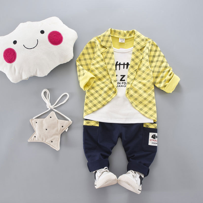 HTB1TzyjXjDuK1RjSszdq6xGLpXaP - 2017 Boys Spring Two Fake Clothing Sets Kids Boys Button Letter Bow Suit Sets Children Jacket + Pants 2 pcs Clothing Set Baby