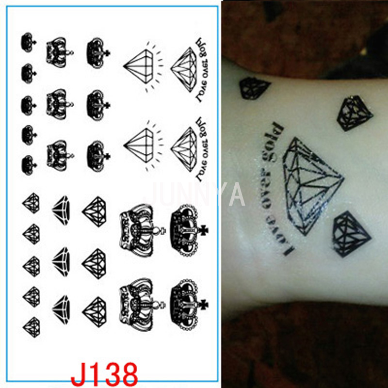 Black diamonds crowns tattoo flash temporary tattoos for Fake neck tattoo