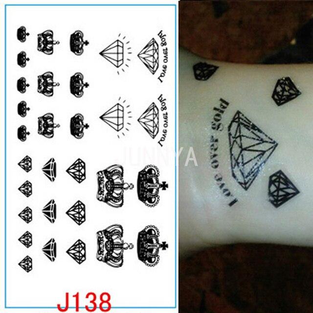 Coronas De Diamantes Negro Tattoo Flash Tatuajes Temporales Pegatina