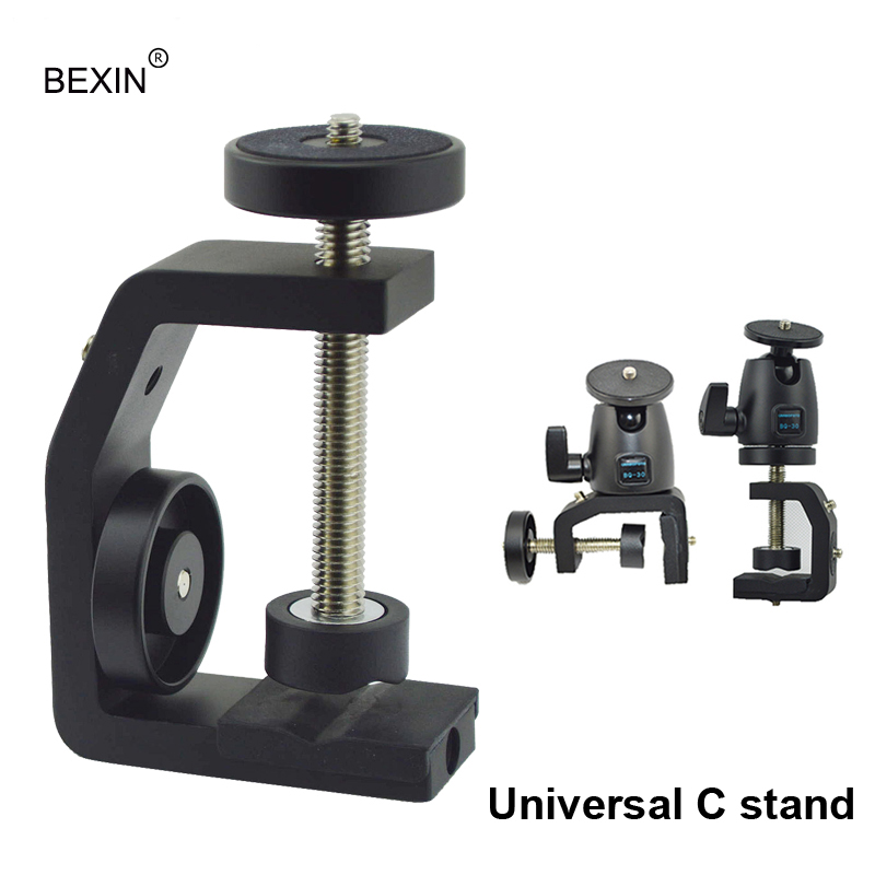 цена на BEXIN Free shipping Multifunctional Aluminum Clip UNC1/4 Screw Universal C stand Clamp For Camera Tripod Flash Holder Bracket