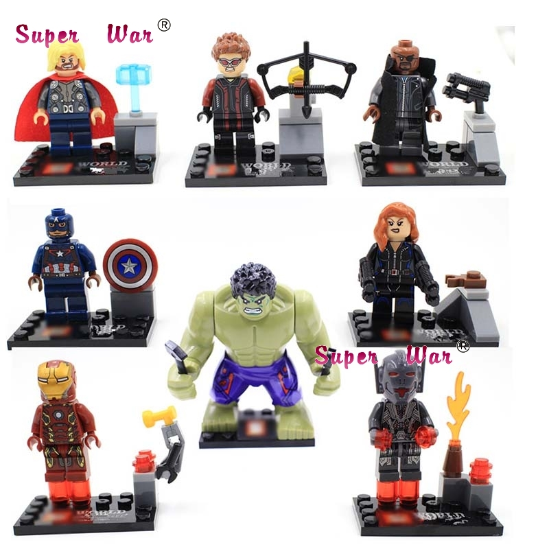 8pcs star wars super heroes marvel The Avengers 2 Age of Ultron building blocks action  set model bricks toys for children moc the iron man work station hall of armor war machine super heroes avengers building blocks kids toys not include minifig