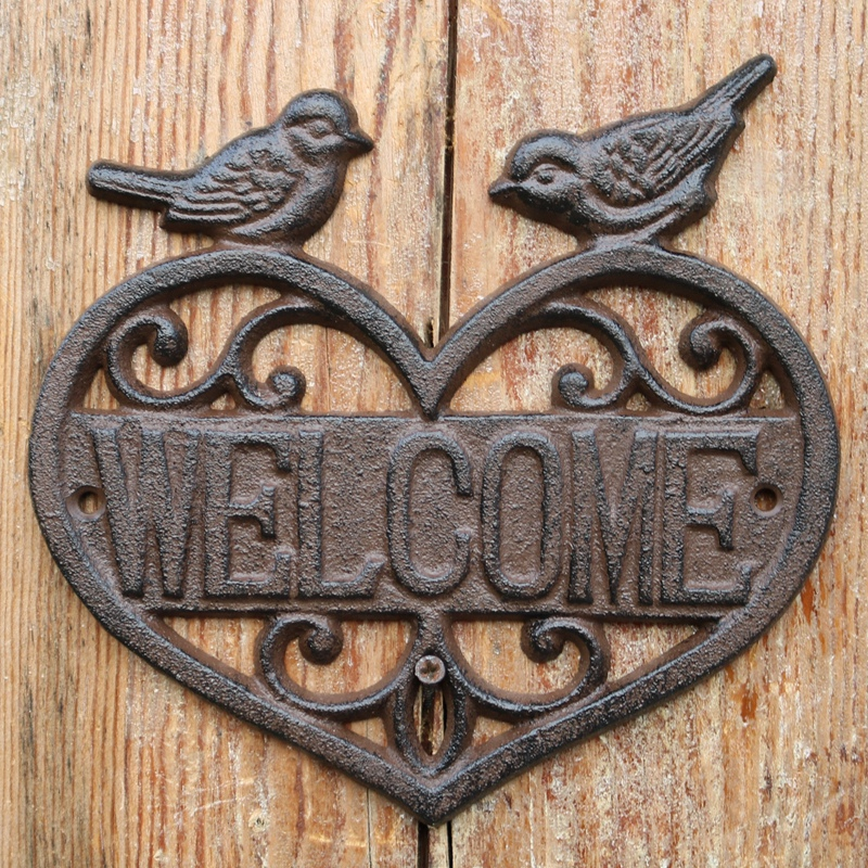 Us 38 0 New Hanging Cast Iron Bird Welcome Sign Garden Decor Decorative Heart Wall Plaque Deer Horse In Plaques Signs