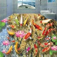 Envío Libre Hermoso juego fish lotus 3D piso vestíbulo del hotel salón cuadrado pisos porche wallpaper mural