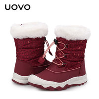 Girls Snow Boots Uovo Brand Red Plush Lining Warm Rubber Boots Water resistant Mid calf British Style Fashion Shoes Size 29 38