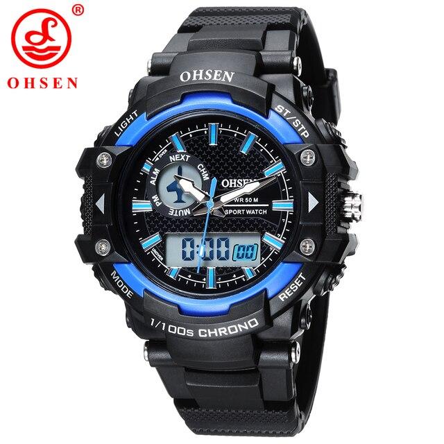Ohsen choque deportes al aire libre dial grande relojes hombres led digital 50 m impermeable reloj militar del ejército reloj de alarma cronógrafo relojes de pulsera