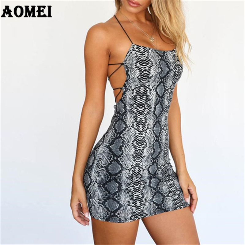 Aliexpress.com   Buy Dress Sexy Women Clubwear Snake Skin Printed Slim  Backless Evening Dinner Party Ladies Fashion Tight Short Dresses Robes  Summer from ... c28d935263e1