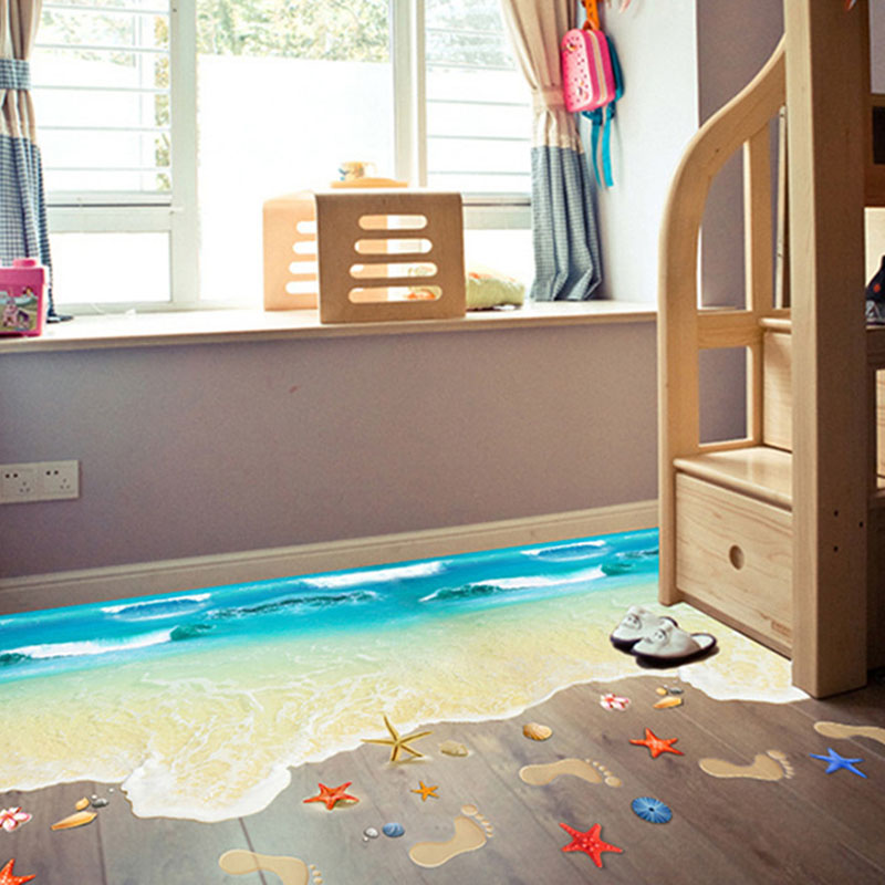 Creativo PVC Wall Stickers 3D Starfish Footprint Spiaggia Bagno Floor ...