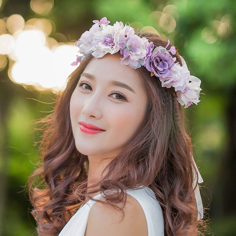 Women Girl Rose Flower Crown Wreath Wedding Bridal Artificial Flower Headband Tiara Hair Floral Hair band Hair accessories 2018