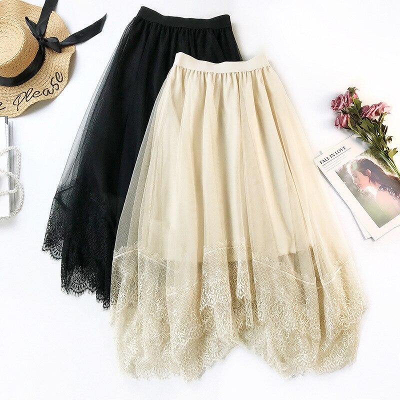 2019 New Spring Little Fairy Skirt Romantic Lace Tulle Skirt Women Mesh Skirt Irregular A Line Big Swing tutu Skirts for Women
