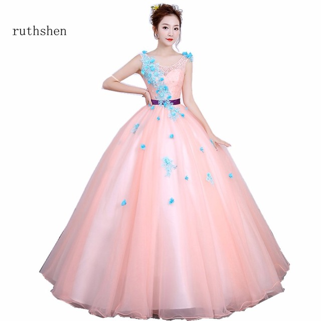 ruthshen Pink Ball Gown Quinceanera Dresses With Appliques Flowers Prom  Dress With Sash Vestidos De 15 e5f0b0cb0730