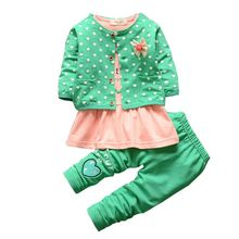 2017 3Pcs Baby Girls Polka Dot Warm Coat +Tops Dress +Pants Sets Kids Clothes Outfits polka dot print capri pants