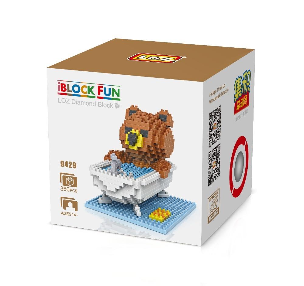 LOZ 9429 Bath Brown Bear Bathtub Bathhouse Diamond Bricks Minifigures Building font b Block b font