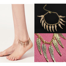 Hot Sale Jewelry Fashion Adjustable Angel Wings Anklet Bracelet Gold Foot Chain Charm(China)