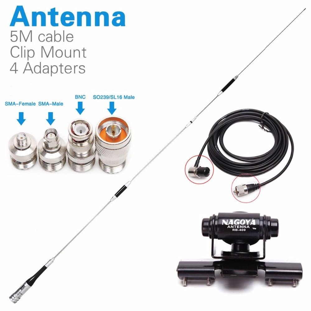 Diamant SG-7900 Double Bande Antenne + Clip Mnout + SMA-F/SMA-M/BNC/SL16 4 Adaptateurs pour Yaesu baofeng UV-5R Talkie Walkie Mobile Radio