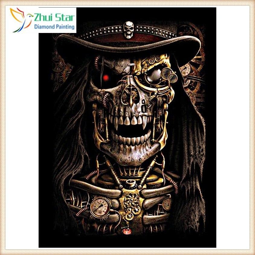 Zhui Star Diy Diamond Painting Cross black Hat skull Full Diamond Embroidery 5D Diamond Mosaic Home Decor gift gx