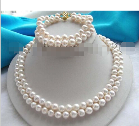 FREE shipping>>>>>>2r Natural White 9mm Pearl Necklace Bracelet A Set !FREE shipping>>>>>>2r Natural White 9mm Pearl Necklace Bracelet A Set !