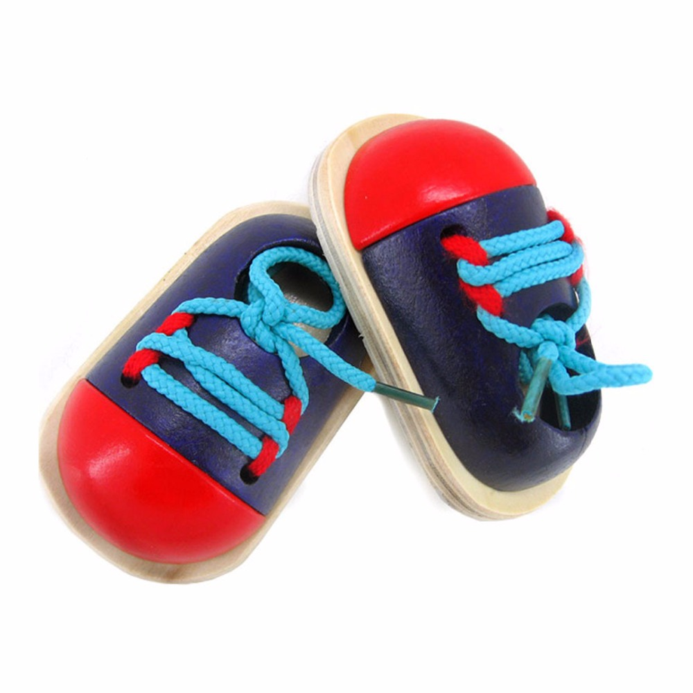 1 Pair Fashion Kids Montessori Educational Toy Children Wooden Toys Toddler Lacing Shoes Early Learning Teaching Aids Baby Gifts