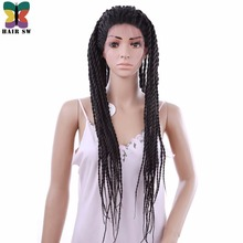 HAIR SW Long Straight 2x Twist Braid Lace Front wigs Synthetic With Single Rope Senegalese Natural Hairline For Black Women