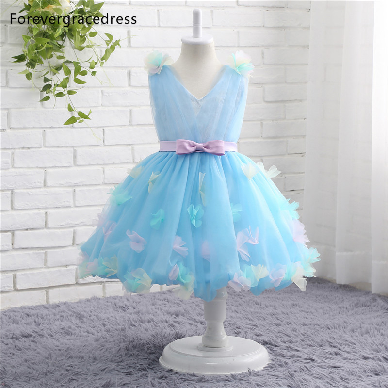 Forevergracedress Real Photos Lovely   Flower     Girl     Dress   Cute V Neck Sleeveless With Sashes Kids Children Pageant Gown